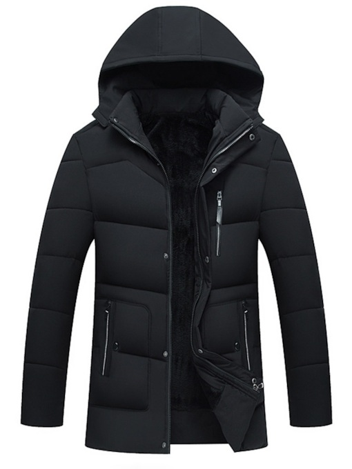 Straight Stand Collar Plain Men's Down Jacket
