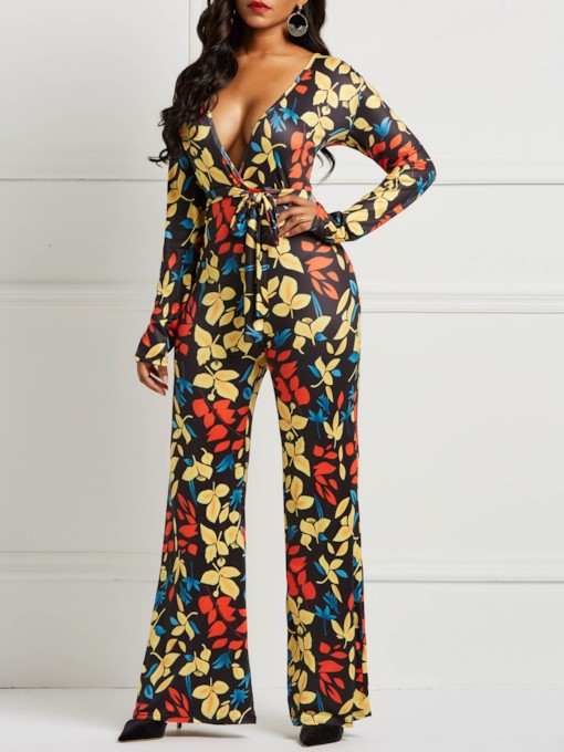 Full Length Fashion Color Block Slim Women's Jumpsuits
