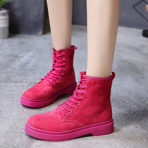 Suede Lace-Up Front Sewing Round Toe Rosy Women's Martin Boots