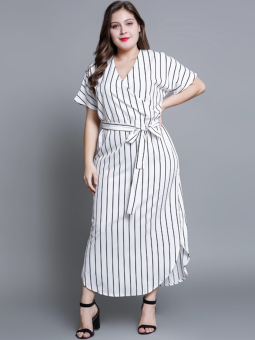Stripe V-Neck Split Asymmetric Women's Day Dress