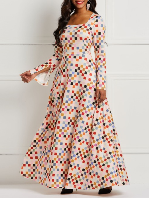 Print Square Neck Flare Sleeve Women's Maxi Dress