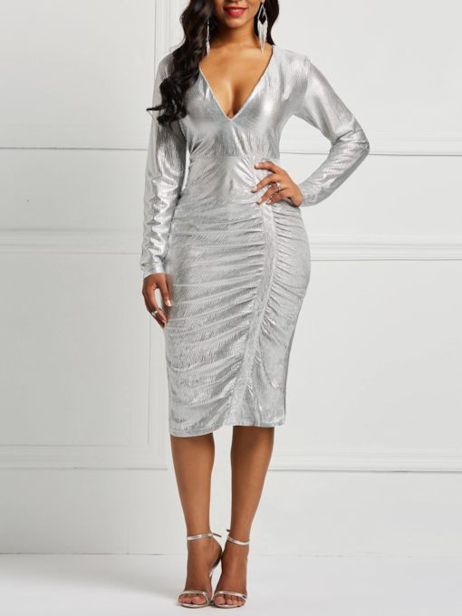 Pleated Long Sleeve V-Neck Plain Women's Bodycon Dress