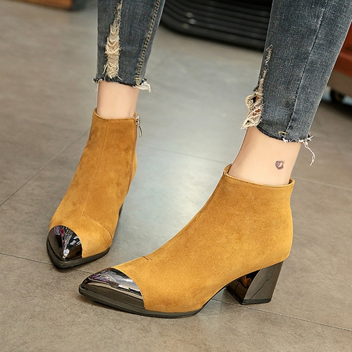 Side Zipper Chunky Heel Pointed Toe Trendy Women's Ankle Boots