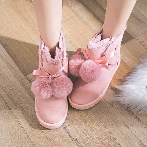 Suede Round Toe Lace-Up Front Pompon Plush Ladylike Women's Snow Boots