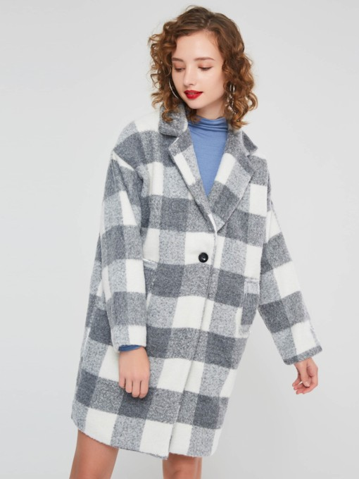 Plaid Lapel Long Sleeves Women's Overcoat