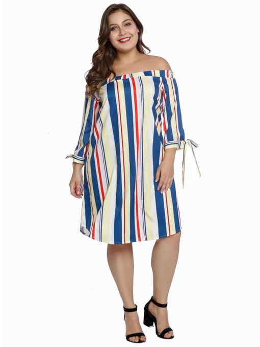 Backless Lace Up Stripe Women's Long Sleeve Dress