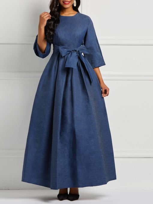Round Neck Lace-Up Three-Quarter Sleeve Women's Maxi Dress