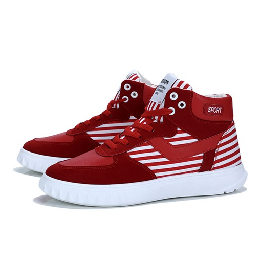 Stripe Patchwork Lace-Up Round Toe High Top Chic Men's Skateboard Shoes