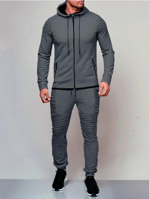 Plain Hoodie and Pants Men's Outfit