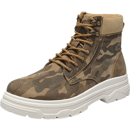 Round Toe Lace-Up Front Mid-Calf Camouflage Men's Martin Boots