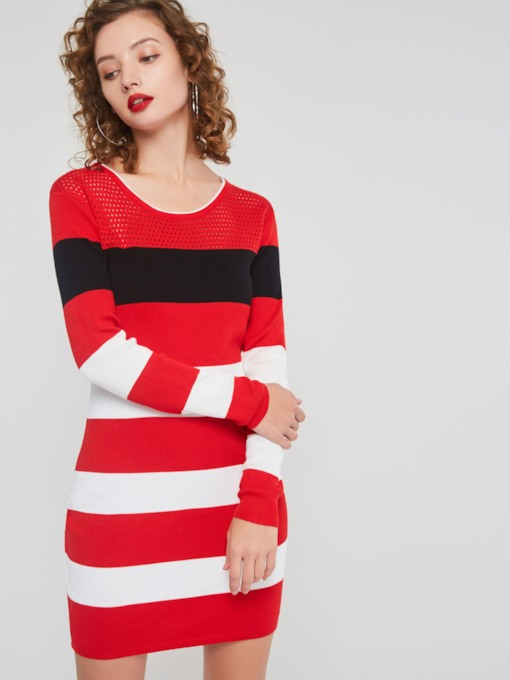 Christmas Color Block Round Neck Women's Long Sleeve Dress