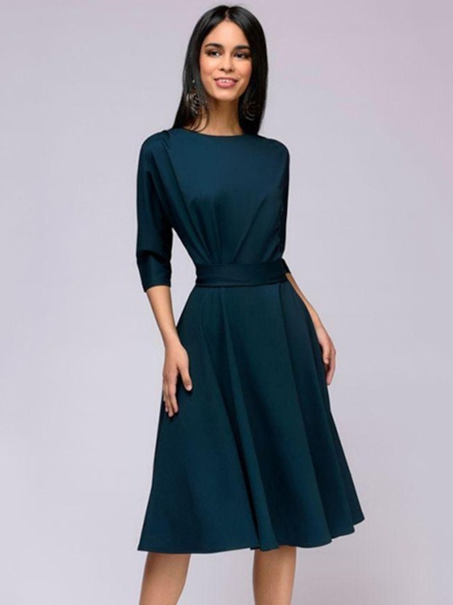 3/4 Length Sleeves Belt Women's Day Dress