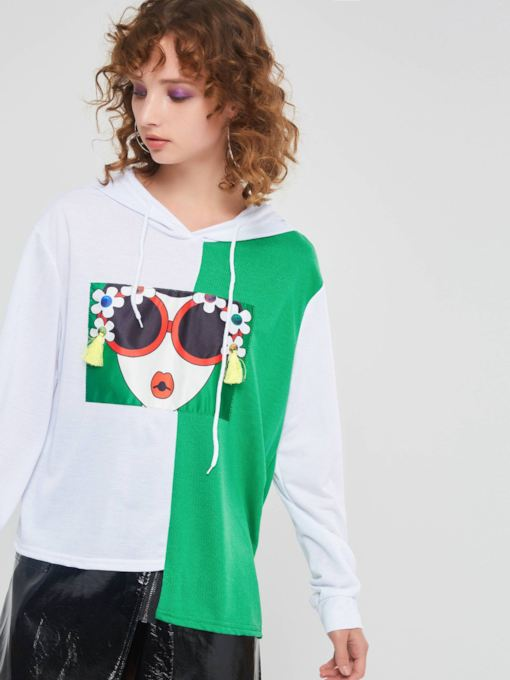 Color Block Figure Print Asymmetric Women's Hoodie