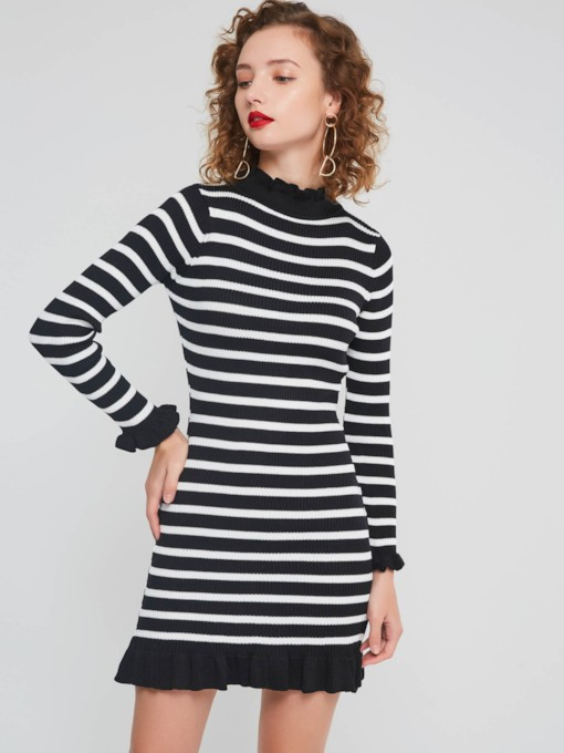 Stripe Falbala Women's Long Sleeve Dress