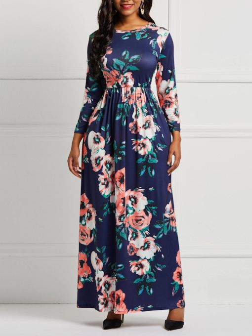 Pocket Three-Quarter Sleeve Round Neck Floral Women's Maxi Dress