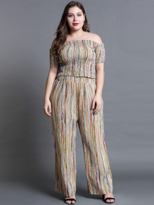 Plus Size Stripe Slash Neck T-Shirt and Pants Women's Two Piece Set
