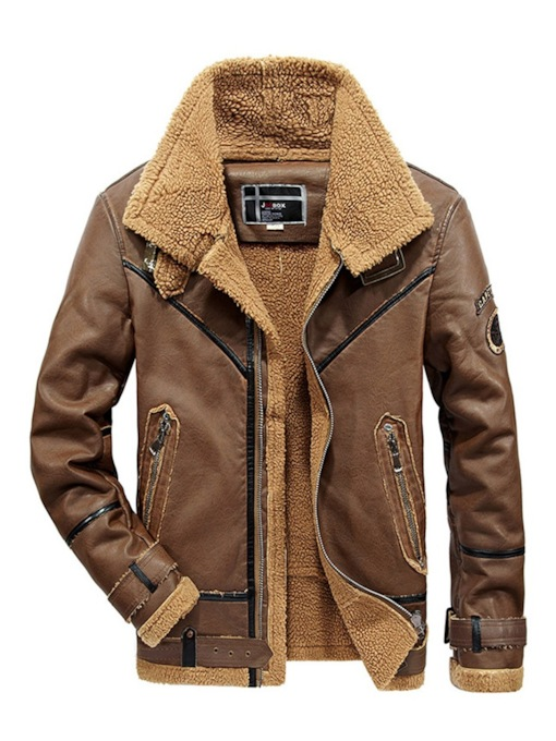 Stand Collar Plus Fur Slim Plain PU Men's PU Jacket