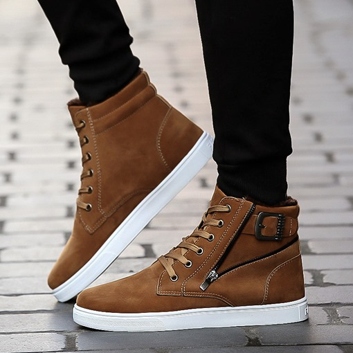 Lace-Up Round Toe Buckle Zipper High Top Skateboard Shoes for Men