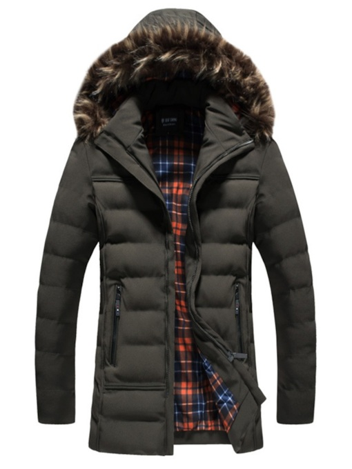 Slim Hooded Stand Collar Thick Mid-Length Men's Down Jacket