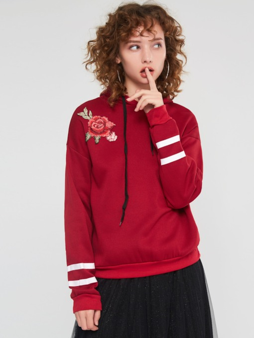 Straight Drawstring Floral Embroideried Pullover Women's Hoodie