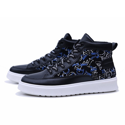 Letter Patchwork Round Toe Lace-Up High Top Men's Skateboard Shoes