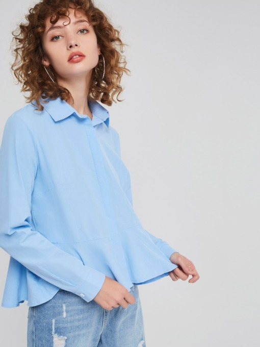 Plain Single-Breasted Long Sleeve Women's Blouse