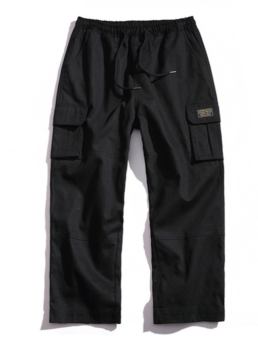Plain Overall Loose Men's Casual Pants
