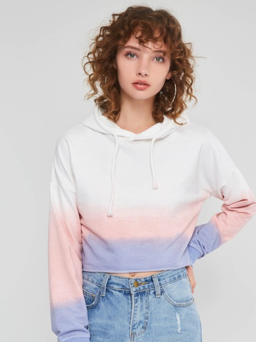 Loose Drawstring Gradient Pullover Short Women's Hoodie