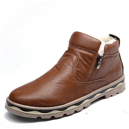 PU Round Toe Side Zipper Casual Ankle Snow Boots for Men