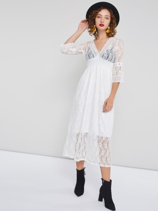Hollow 3/4 Length Sleeves Women's Lace Dress