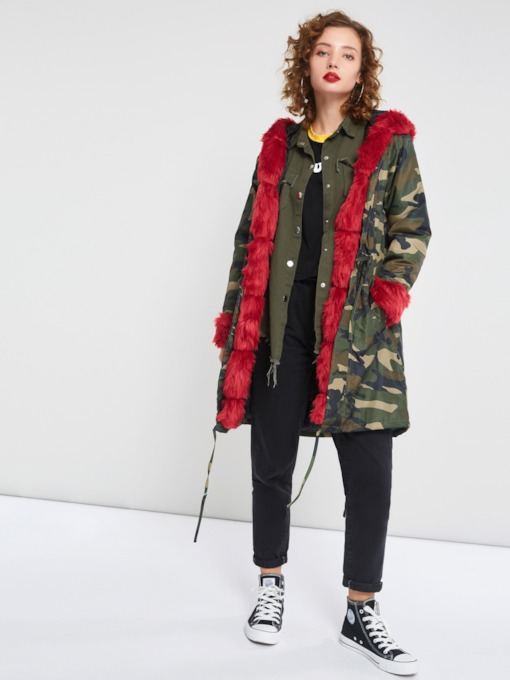 Camouflage Print Long Sleeve Hooded Women's Overcoat