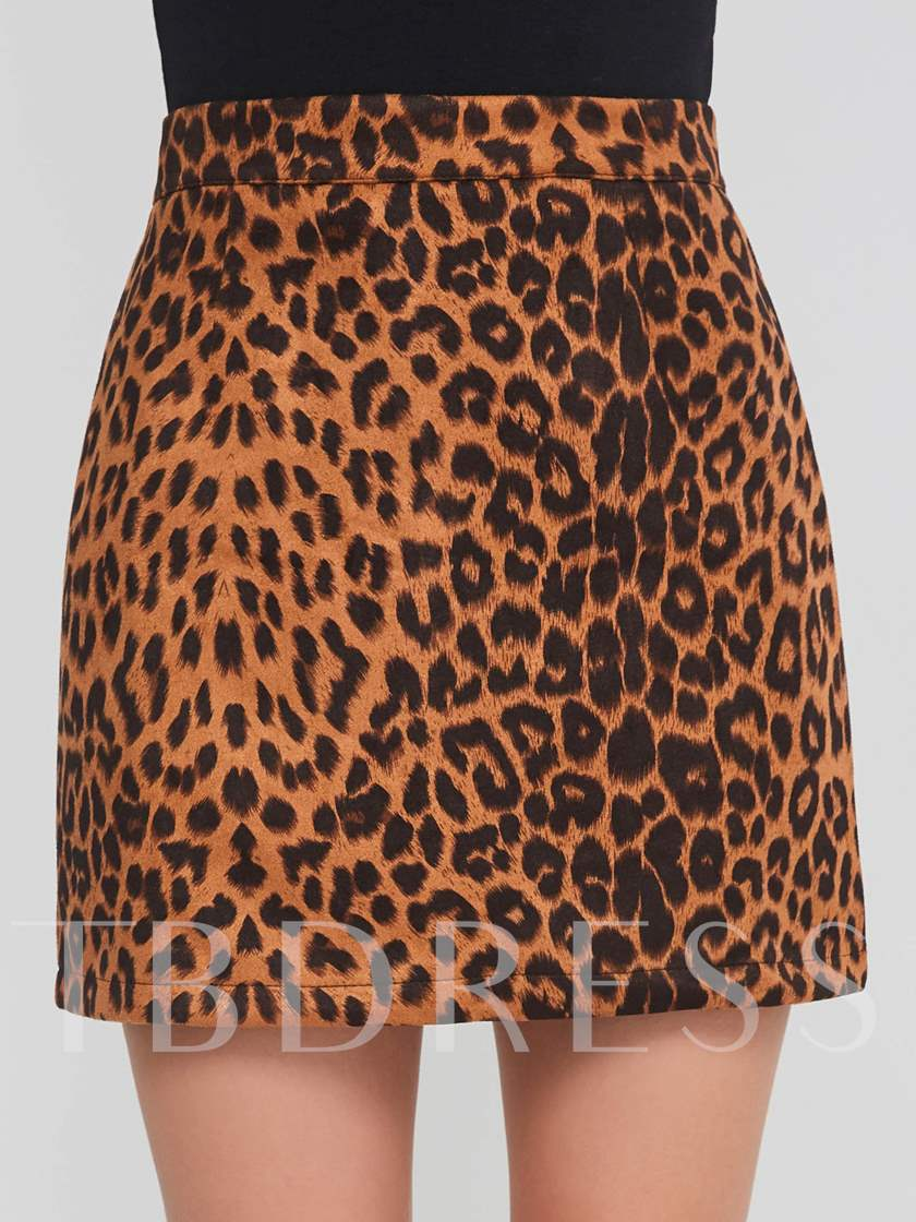 Leopard Print A Line Women's Mini Skirt