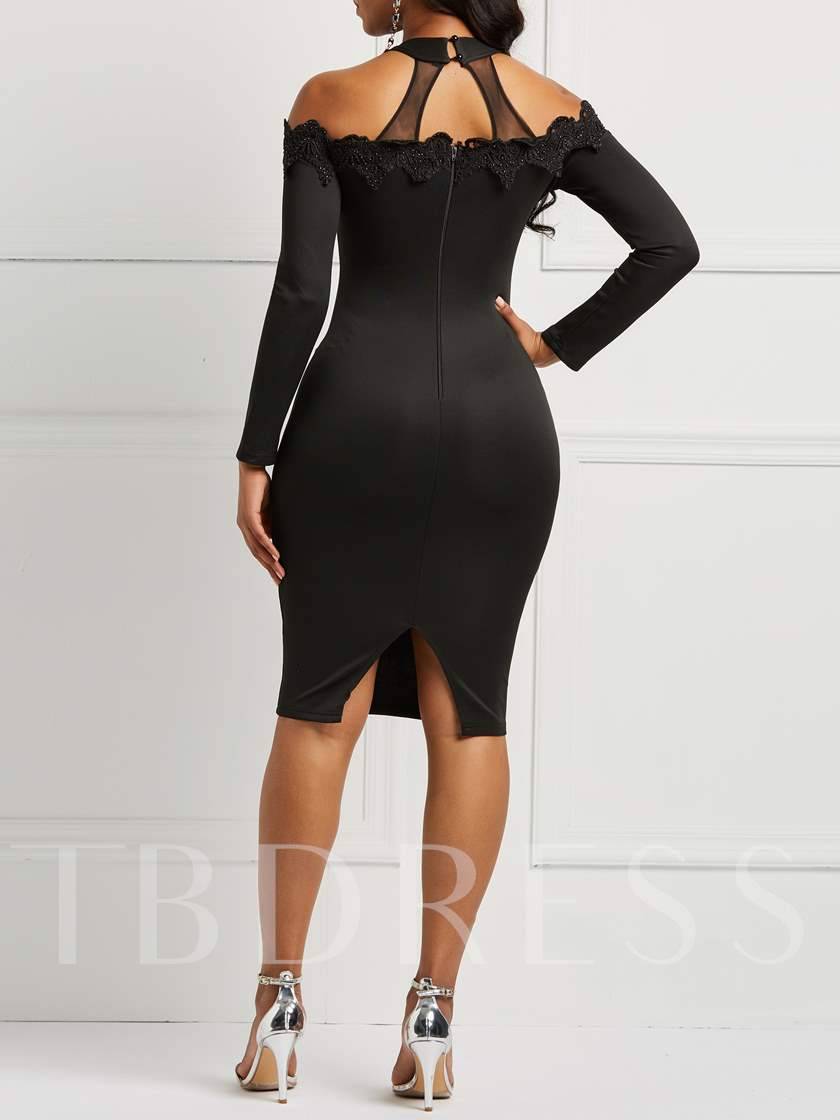 Stand Collar Sexy Mesh Women's Bodycon Dress