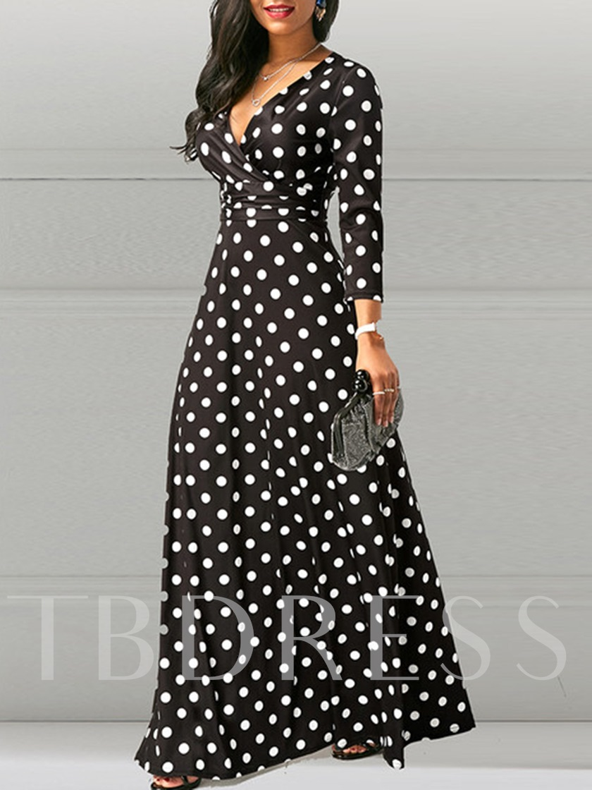 Print V-Neck Polka Dots Vintage Women's Maxi Dress