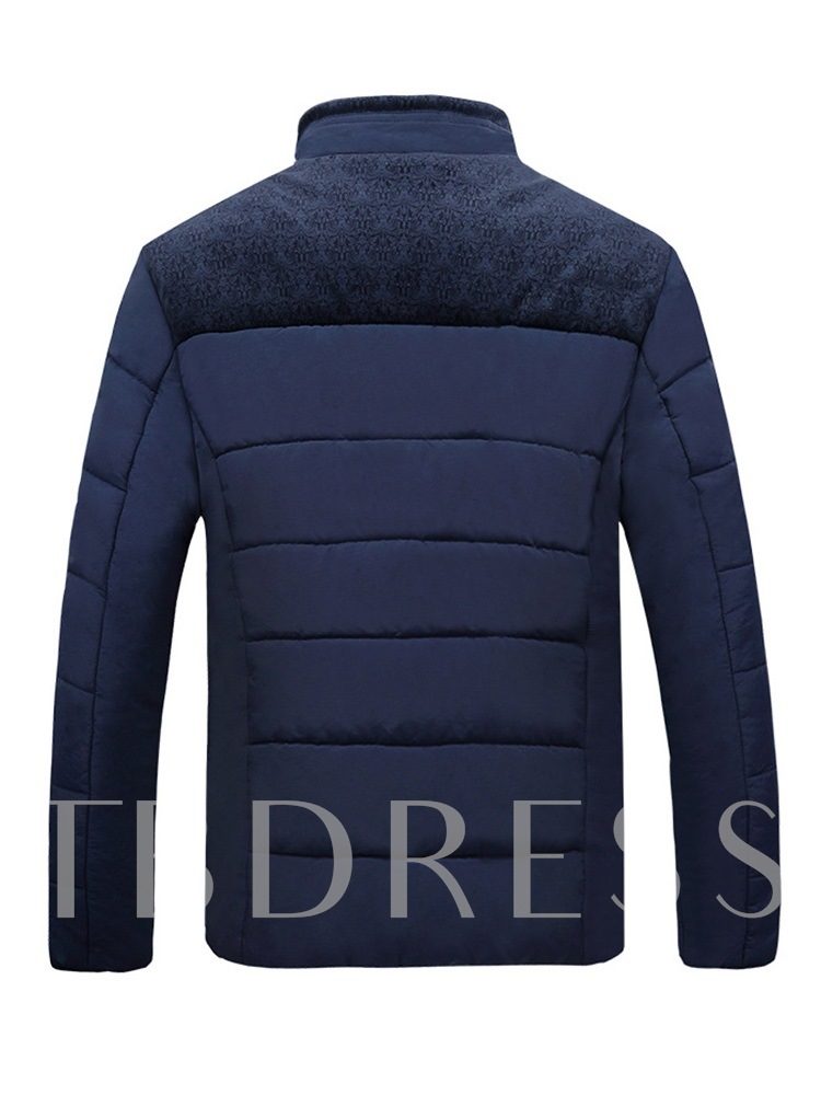 Slim Thick Stand Collar Plain Men's Jacket
