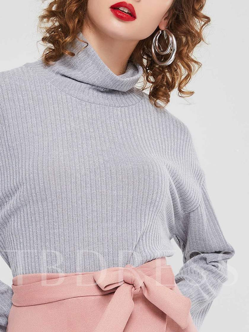 Straight Plain Turtleneck Pullover Women's Sweater