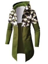 Trench Hommes Couleur Camouflage Patchwork Longue