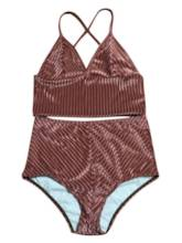 Stripe High Elasticity Bikini Set