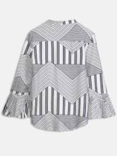 Flare Sleeve Bow Tie Neck Mixed Printed Women's Shirt