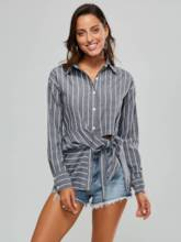 Stripe Lace Up Long Sleeve Mid Length Women's Shirt