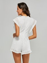 V Neck Button Plain Women's Romper