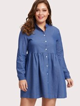 Plus Size Stand Collar Long Sleeve Day Dress