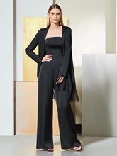 Column Evening Jumpsuits with Long Sleeves Jacket