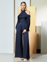 Sheath Open Shoulder Long Sleeves Evening Jumpsuits
