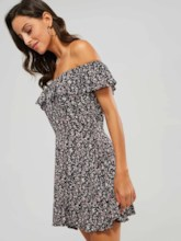Off Shoulder Single-Breasted Women's Day Dress