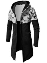 Long Pattern Camouflage Patchwork Hooded Men's Trench Coat