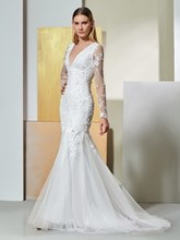 Mermaid Long Sleeves Appliques Lace Evening Dress
