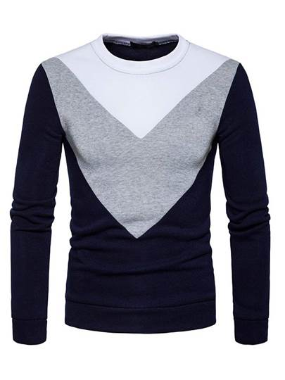 Patchwork Round Collar Men's Sweatshirt
