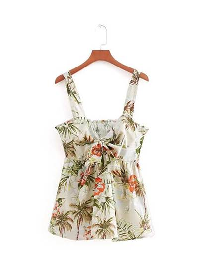 Ruched Tie Front Floral Women's Tank Top