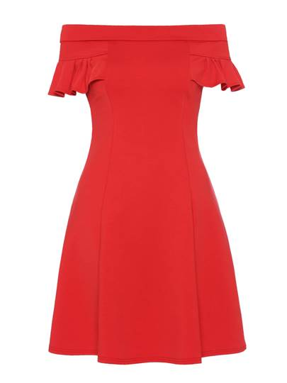 Plain Slash Neck Women's Day Dress